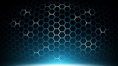 Blue Abstract Hexagon Technology Background,futuristic Hexagon Pattern Tech,electronic Innovative Ba poster