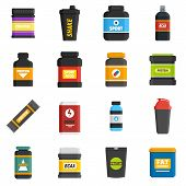 Sport Nutrition Icons Set. Flat Set Of Sport Nutrition Vector Icons For Web Design poster