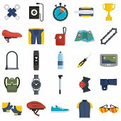 Cycling Equipment Icons Set. Flat Set Of Cycling Equipment Vector Icons For Web Design poster