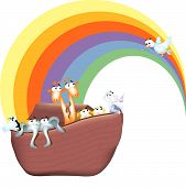 stock photo of noah  - A cartoon version of the bible story of Noah - JPG