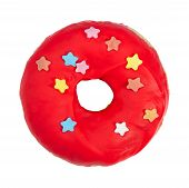 Donut With Red Icing And Sprinkles Isolated On White Background. poster