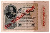 foto of billion  - Front side of a German bank note from 1922 which has been upgraded with a stamp during hyper inflation - JPG