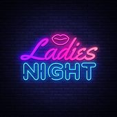 Ladies Night Neon Sign Vector. Night Party Design Template Poster Neon Sign, Light Banner, Nightly B poster