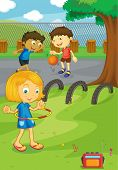 stock photo of hulahoop  - Illustration of friends in the school yard - JPG