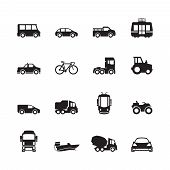 Transport Pictogram. Car Ship Subway Train Yacht Road Symbols Truck Side View Transport Silhouette I poster