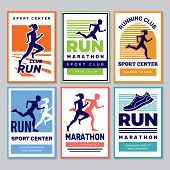 Running Club Poster. Marathon Winners Sportsmen Athletes Fitness For Healthy People Vector Placard C poster