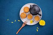 Minimal Simplicity Layout Moon Cakes On Blue Background For Mid-autumn Festival, Creative Food Desig poster
