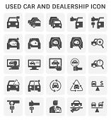 Used Car And Dealership Icon Set For Used Car Business Design. poster