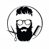 Logo For The Hairdresser. Black And White Logo For A Barbershop.vector Illustration For Hairdresser. poster
