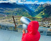 Tourism Vacation And Travel. Female Looking Through Sightseeing Binoculars Tourist Telescope, Overlo poster
