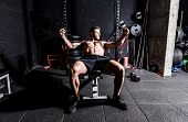 Chest Training, Young Strong Focused Fit Muscular Man Chest Bench Press Stretching Workout Training  poster