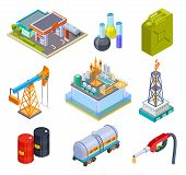 Oil Gas Industry Isometric. Fuel Storage Oil Products Gasoline Can Production Pipeline Canister Tank poster