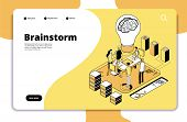 Brainstorm Landing Page. Business People Launching New Project And Brainstorming. Innovation Teamwor poster