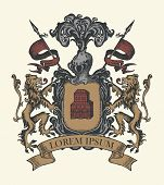 Vector Heraldic Coat Of Arms In Vintage Style With Shield, Knightly Armor, Spears, Helmet, Lions, Ri poster