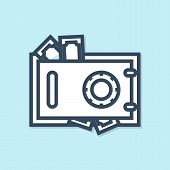 Blue Line Safe And Money Icon Isolated On Blue Background. The Door Safe A Bank Vault With A Combina poster