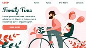 Family Time Horizontal Banner, Happy Father Riding Bicycle With Little Child Sitting On Trunk. Activ poster