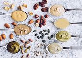 Nuts And Seeds Butter On A Spoons With Ingredients. Homemade Raw Organic Almond, Hazlenut, Cashew, P poster