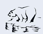 picture of polar bears  - Sketch of a polar bear standing on a rock - JPG