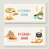 French Cuisine Traditional Food Vector Illustration Of Two Banners Set. Delicious French Meal For Di poster