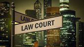 Street Sign To Law Court poster