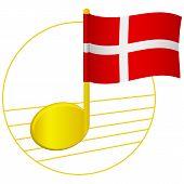 Denmark Flag And Musical Note. Music Background. National Flag Of Denmark And Music Festival Concept poster