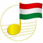 Hungary Flag And Musical Note. Music Background. National Flag Of Hungary And Music Festival Concept poster