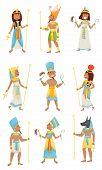 Set Of Egyptian Pharaohs. Vector Illustration On A White Background. poster