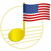 United States Of America Flag And Musical Note. Music Background. National Flag Of United States Of  poster