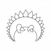 Dinosaur Abstract Shape Line Icon. Dino Logo. Cute Funny Linear Illustration Of Dinosaur Vector Illu poster