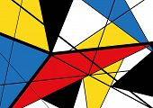 Abstract Triangles Geometric Colorful Pattern. Mondrian Style. Vector Illustration poster