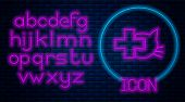Glowing Neon Veterinary Clinic Symbol Icon Isolated On Brick Wall Background. Cross With Cat Veterin poster
