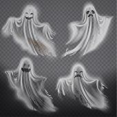 Set Of Translucent Ghosts - Happy, Sad Or Angry, Smiling Phantom Silhouettes Isolated On Background. poster