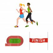 Vector Illustration Of Step And Sprint Logo. Collection Of Step And Sprinter Stock Symbol For Web. poster