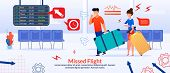 Missed Flight Poster With Cartoon Angry Frustrated Passengers, Confused Mad Man And Woman With Bagga poster