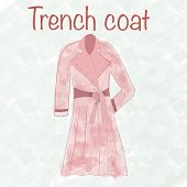 Trench Coat Watercolour Illustration In Watercolor Style. Fashion Fabric. Fashion, Style, Beauty. Be poster
