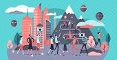 Overtourism Vector Illustration. Flat Tiny Tourist Crowd Problem Persons Concept. Group With Travele poster
