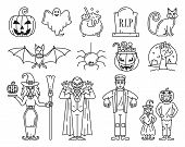 Halloween Line Icons Set. Includes Such Icons As Pumpkin, Kids, Costume, Witch, Vampire, Frankenstei poster