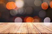 Wood Table Top Counter On Night City Lights Bokeh Background, Lights Blurred Bokeh Blurred Backgroun poster