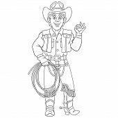 Colouring Page. Cute Cartoon Cowboy, Horse Rider With Lasso Rope. Childish Design For Kids Coloring  poster