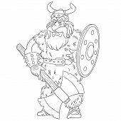Colouring Page. Cute Cartoon Viking, Legendary Scandinavian Warrior. Childish Design For Kids Colori poster