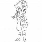 Colouring Page. Cute Cartoon Nurse, Young Female Doctor. Childish Design For Kids Coloring Book Abou poster