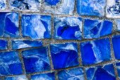 Horizontal Pattern Of Blue Street Mosaic. Background From Blue Mosaic, Broken Glass. Abstraction Fro poster