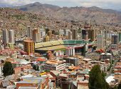 Viev stadium is Estadio Libertador Simon Bolivar in La Paz, Bolivia, from Killi Killi Viewpoint. Thi