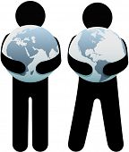 picture of eastern hemisphere  - Earth hugger people holding world safe in their globalist arms - JPG