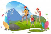 Hiking Man And Woman With Son, Hikers Or Backpackers Vector. Outdoor Activity, Mountain Or Rock, Fam poster