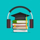 Electronic Audio Learning Or Studying Online Vector Illustration, Flat Cartoon Headphones And Books  poster