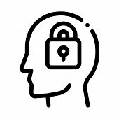 Locked Padlock In Man Silhouette Mind Vector Icon Thin Line. Gear And Brain, Heart And Shield, Padlo poster
