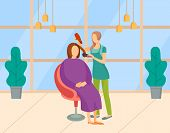 Beauty Salon Vector, Woman With Client Using Hair Dryer. Lady Getting New Haircut Or Hairdo, Procedu poster