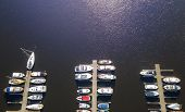 Aerial View By Drone Of Yacht Club And Marina. Top View Of Yacht Club. White Boats In Sea Water. Mar poster