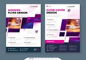 Purple Flyer Template Layout Design. Corporate Business Flyer Mockup. Creative Modern Bright Concept poster